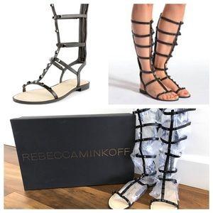NEW Rebecca Minkoff Black Studded Gladiator Sandal